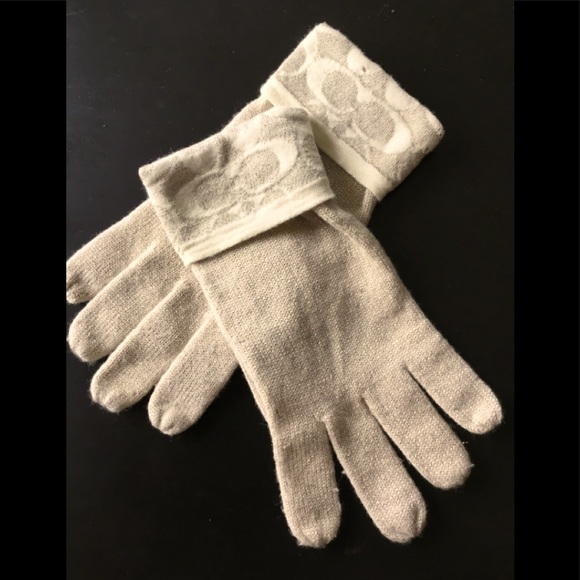 Sparkly Gold and Cream Coach Gloves